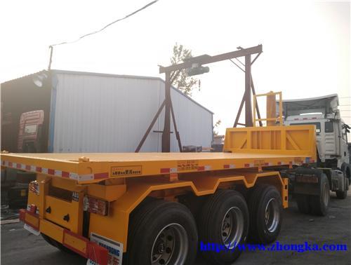 二手20英尺集装箱平板后翻自卸车